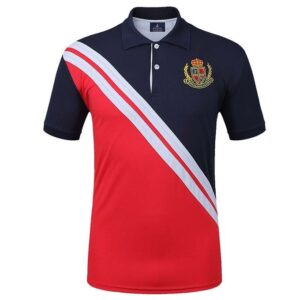 Summer Men Polo Shirt Short Sleeve Casual Sports T Shirts Running Jogging Tops Outdoor Casual T-shirt Quick Dry – Red