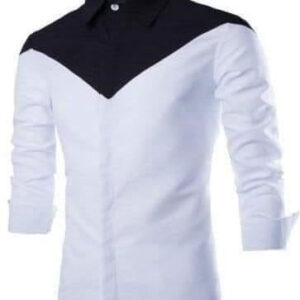 White and Black Mix Shirt Long Sleeves