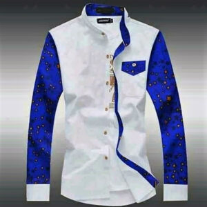White Shirt with Traditional Print