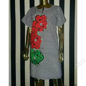 Ankara short gown with a touch of red and green flowered print