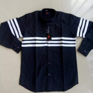 Black Chinese collar shirt with white stripes