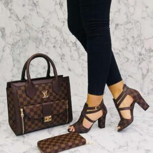 Brown check bag with matching shoe and purse