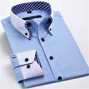 Button collar sky blue shirt for corporate use