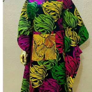 Cowl sleeves down traditional print free Gown