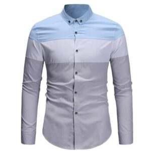 Grey and sky blue fitted Long sleeve shirt