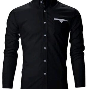 Long sleeve Black Shirt with touch of white pocket