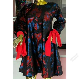 Mixed colored Short Gown with Long sleeves