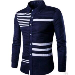 Navy blue shirt with white stripes