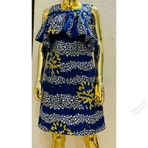 Ready to wear Sleeveless Ankara Gown with cape.