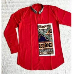 Multi-purpose Red Chinese collar shirt with vintage print