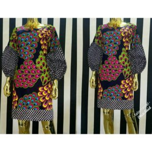Traditional print free hand gown with Ankara base
