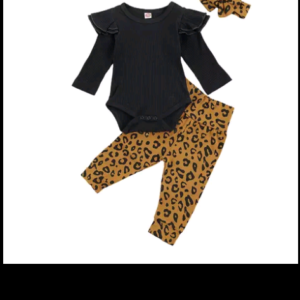 Flying Sleeve Ribbed Jumpsuit and Leopard Trousers with Headband; 1-2 years